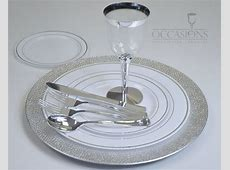 OCCASIONS Full Wedding Set   Chargers, Disposable Plastic