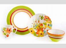 Laurie Gates Green Hailey Stripe/Floral Dinnerware   Set
