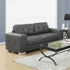 modern leather sofa in grey modern living room
