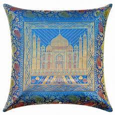 16 quot turquoise blue indian tajmahal silk brocade sofa throw