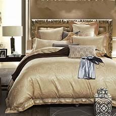 luxury satin silk jacquard bedding set gold 4 6pcs noble