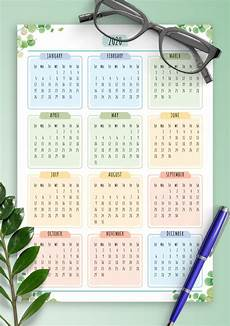 At A Glance Yearly Calendar Download Printable Yearly Calendar Floral Style Pdf