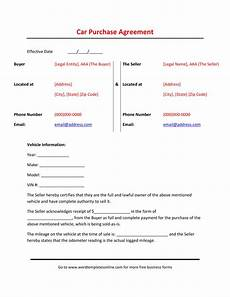 Used Vehicle Purchase Agreement Printable Vehicle Purchase Agreement Here S What Industry