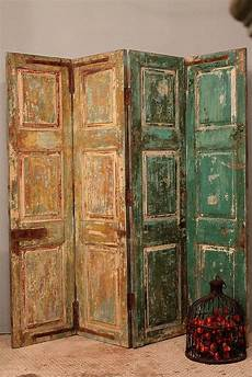 free shipping antique multi color indian four panel screen