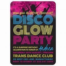 Disco Party Invitations Birthday Party Invitations Disco Glow Party