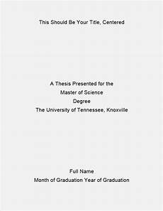 Title Page Examples Formatting Of The Title Page The Graduate School