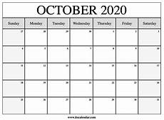 October 2020 Calendar Template Free Printable October 2020 Calendar