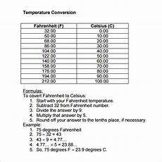 Temperature Degree Conversion Chart Free 9 Sample Temperature Conversion Chart Templates In Pdf