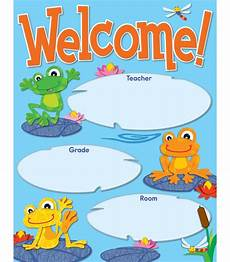 Welcome Chart For Classroom Funky Frogs Welcome Chart Grade Pk 8 Carson Dellosa
