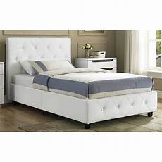 leather upholstered bed faux white frame
