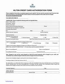 Hotel Credit Card Authorization Form Download Hilton Credit Card Authorization Form Template