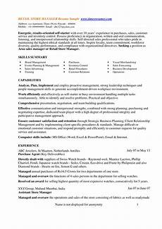 Cv Of Store Manager Retail Store Manager Cv Templates At