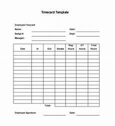 Employee Time Card Sample 11 Printable Time Card Templates Doc Excel Pdf Free