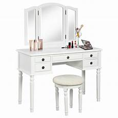 wooden vanity dressing table set tri fold mirror stool 5