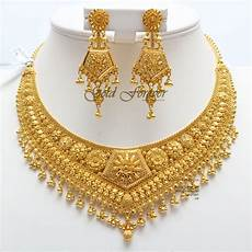 22k Gold Indian Jewellery Designs 22 Carat Indian Gold Necklace Set 70 4 Grams Code Ns1003