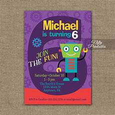 Birthday Invitations For Boy 6th Birthday Invitation Boys Robot Invitation Nifty