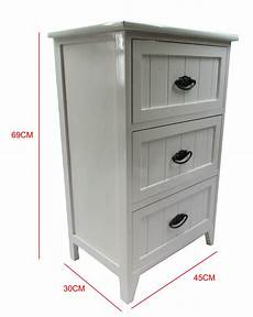 new white gloss wooden small 3 drawer bedside table