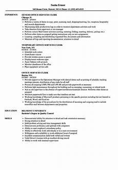 Sample Resume For Office Job Office Services Clerk Resume Samples Velvet Jobs
