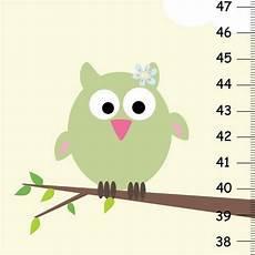 Pink Height Chart Baby Girl Soft Art Owl And Birds Light Pink Light Green