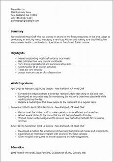 Example Of Chef Resume Professional Head Chef Templates To Showcase Your Talent