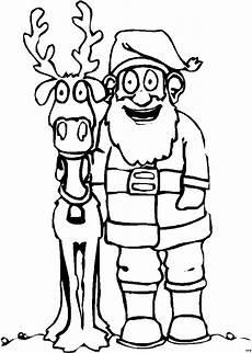 weihnachtsmann und rentier ausmalbild malvorlage comics
