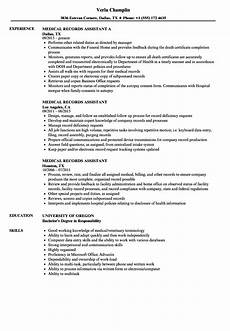 Medical Records Resumes Medical Records Job Description For Resume 1 Bank