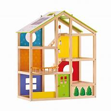 hape all season wooden dollhouse with 6 rooms wooden