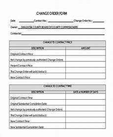 Change Order Form Template Free Change Order Forms 9 Free Word Pdf Format Download