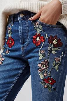 embroidery denim moto embroidered topshop