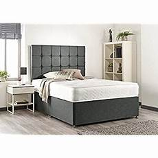 grey suede memory foam divan bed set with mattress