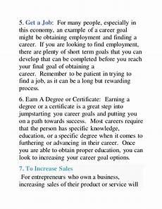 Examples Of Career Goals Top 10 Career Goal Examples