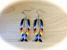 beaded dangle earrings w feather american
