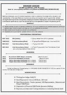 Fresher Accountant Resume Sample Cost Accountant Fresher Resume