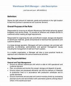 Warehouse Manager Job Description Free 10 Sample Warehouse Manager Job Description