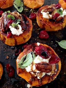 sweet potato rounds with goat cheese appetizers