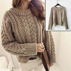 stricken pullunder neck plaited sweater khaki chunky cable knit