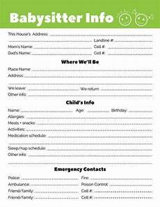 Babysitter Notes Template Free Printable Babysitter Information Sheet Template Pdf