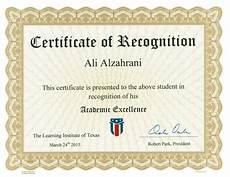Academic Award Certificate Academic Excellence Certificate