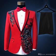 Red S Custom Design 2016 Custom Made Men S Suits Black Red Applique Groom