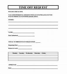 Time Off Request Form Template Free 23 Sample Time Off Request Forms In Pdf Ms Word