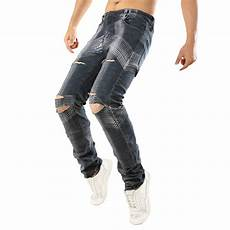 42 Inch Waist Designer Jeans Mixed Fabric Amp Cotton Ripped Amp Middle Waist Men Jeans