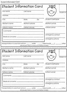 Student Information Card Template Student Information Card