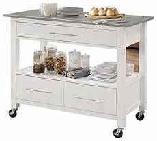 white kitchen island with stainless steel top bowery hill stainless steel top kitchen island white