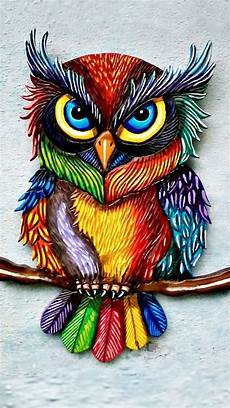 Colorful Owl Art Pin By Tammy On Random Colorful Owls Owls Drawing