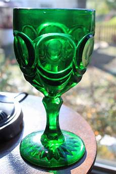 Light Green Vintage Glassware Emerald Green Water Goblet Antique Vintage Pressed