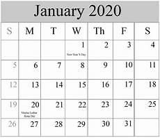 2020 calendar templates with holidays free blank january 2020 calendar printable in pdf word
