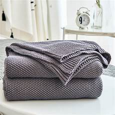 gray cotton cable knit throw blanket for sofa