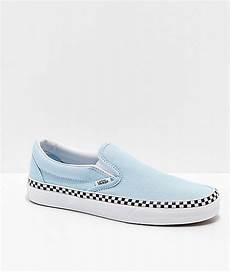 Light Blue And Checkered Vans Vans Slip On Check Foxing Blue Amp White Skate Shoes Zumiez