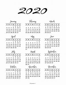 One Page Yearly Calendar 2020 Minimal One Page Calendar For 2019 Amp 2020 Free Printables