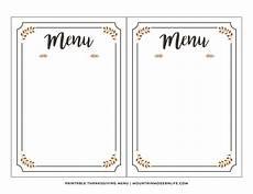 Blank Menus Free Printable Thanksgiving Menu Mountainmodernlife Com